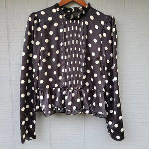 Do+Be Polka Dot Peplum Blouse Black White Pintuck